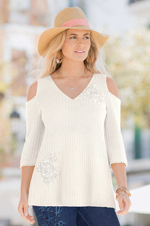 Together Cold Shoulder Lace Detail Sweater