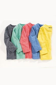 Next Textured Ready Set Go Long Sleeve Tops Five Pack (3mths-6yrs)