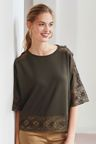 Next Khaki Lace Detail Top