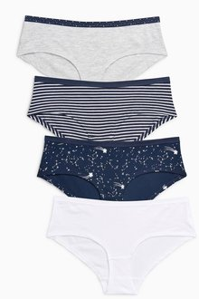 Next Navy Mix Cotton Shorts Four Pack