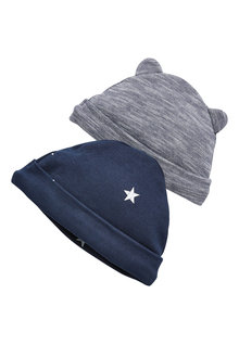 Next Stripe/Star Print Beanie Hats Two Pack (0-18mths)