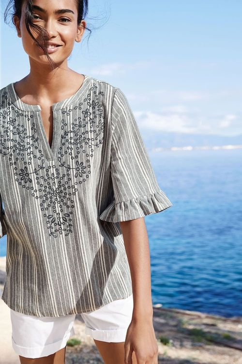 Next Embroidered Stripe Top