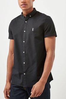 Next Short Sleeve Stretch Oxford Shirt - 197655