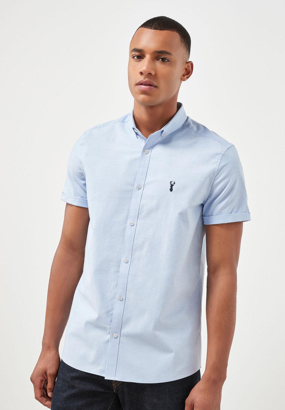 9eb8dfb6dd Next Short Sleeve Stretch Oxford Shirt Online