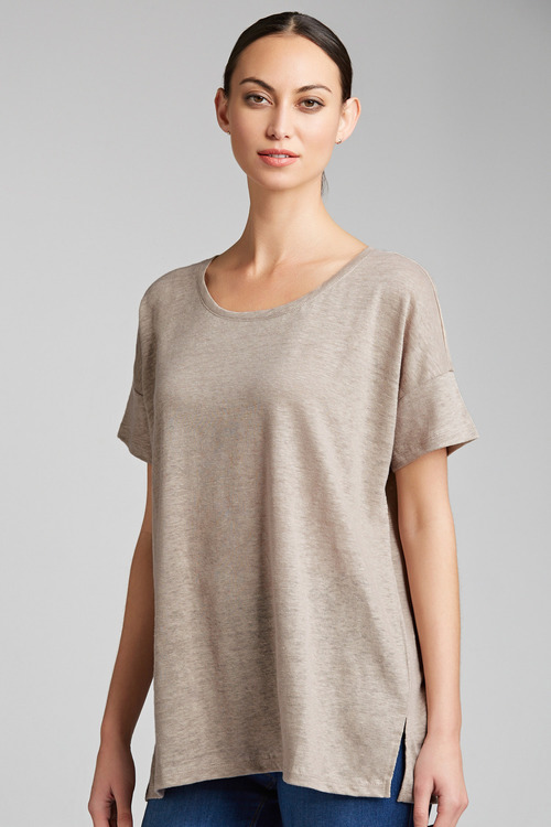 Capture Linen Side Split Hem Tee