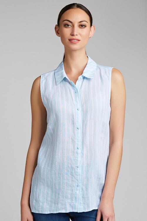 Capture Sleeveless Linen Shirt