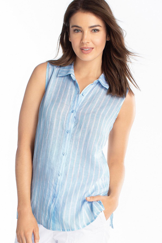 0bc069076dd10 Capture Sleeveless Linen Shirt Online