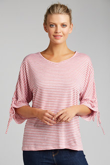 Capture Ruched Sleeve Linen Tee - 197787