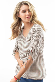 Capture Ruched Sleeve Linen Tee