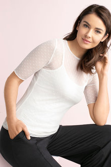 Capture Elbow Sleeve Mesh Top