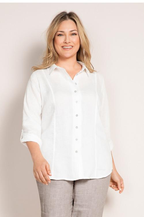 Plus Size - Sara Longline Linen Shirt