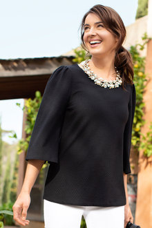 Capture Textured Knit Gather Sleeve Top