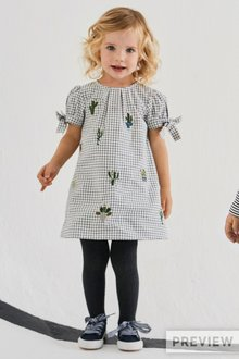 Next Cactus Embroidered Check Dress And Tights Set (3mths-6yrs)