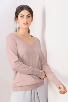 Grace Hill Button Detail V Neck Sweater