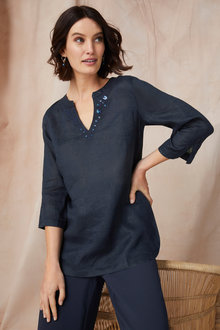Grace Hill Embellished Linen Tunic - 198092
