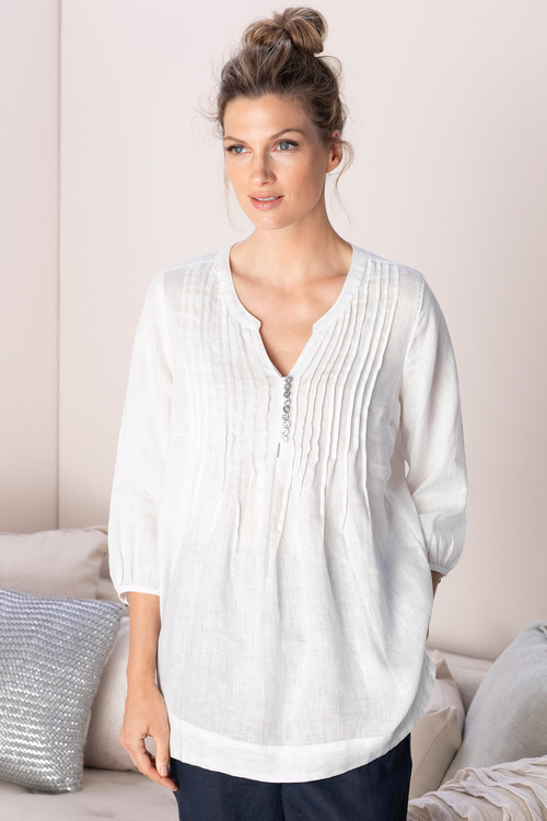 Grace Hill Linen Pintuck Tunic