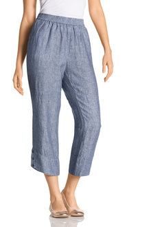 Grace Hill Button Cuff Linen Pants - 198094