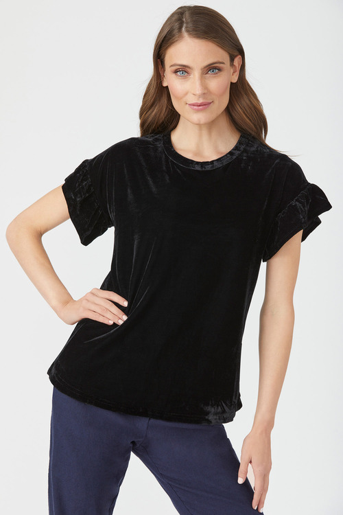 Emerge Ruffle Sleeve Velvet Top