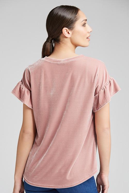 Emerge Ruffle Sleeve Velvet Top