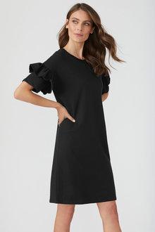 Ruffle Sleeve Sweatshirt Dress - 198136