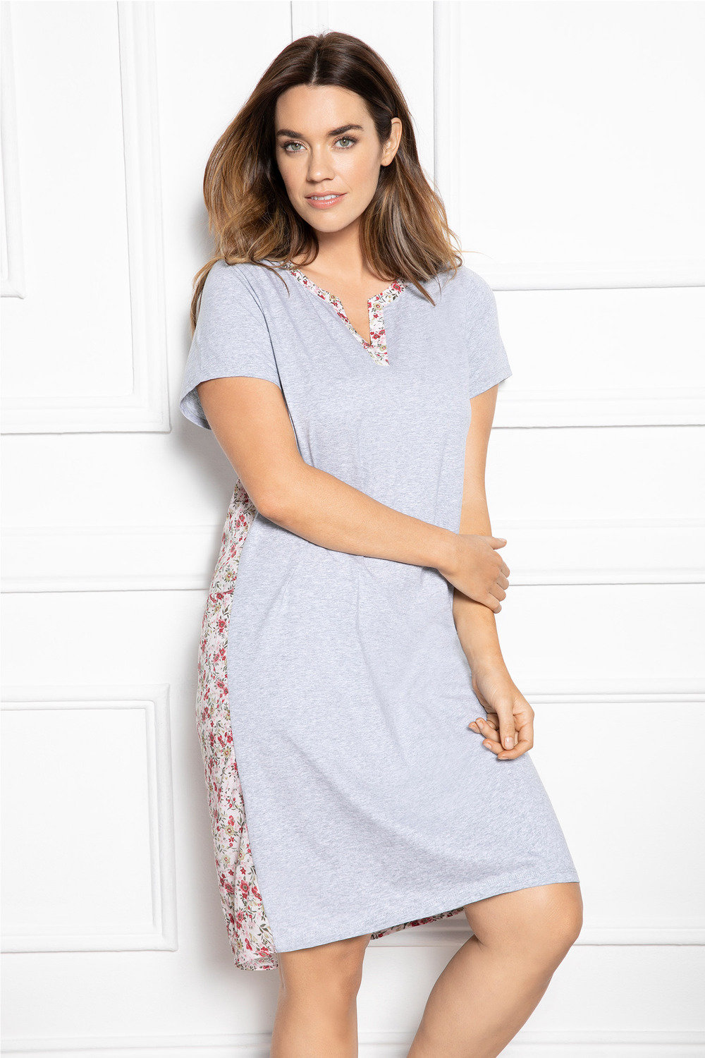 d23a41c0bd7 Plus Size - Sara Woven Back Printed Nightie
