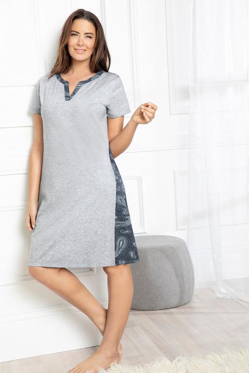 Plus Size - Sara Woven Back Printed Nightie