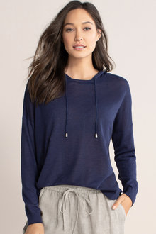 Emerge Linen Blend Hooded Sweater