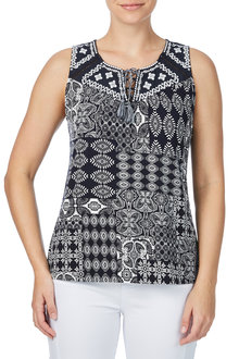 Rockmans Sleeveless Embroidered Print Top