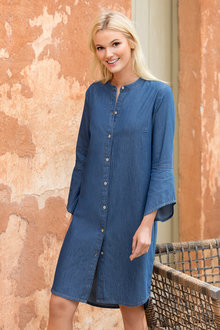 Emerge Flare Sleeve Denim Dress