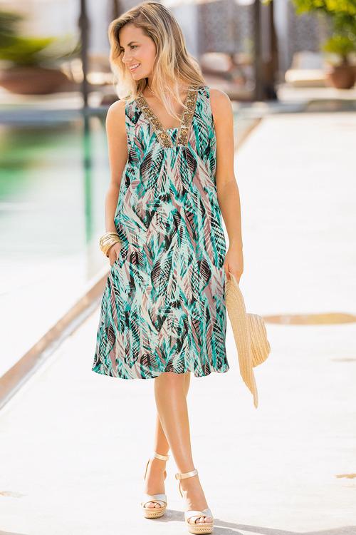 Together Embellished Neckline Dress