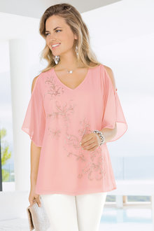 Together Beaded Cold Shoulder Top