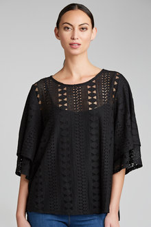 Grace Hill Flutter Sleeve Lace Top (with cami) - 198283