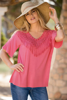 Together Lace Tassel Neck Top - 198308