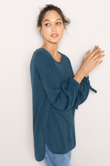 Emerge Tie Sleeve Scoop Hem Sweater