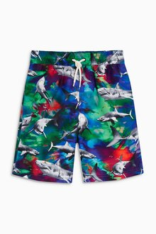 Next Bright Shark Print Swim Shorts (3-16yrs)