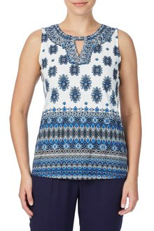 Rockmans Sleeveless Silver Embroidered Print Top