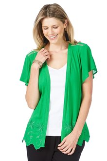 Rockmans Short Sleeve Embroidered Cover Up