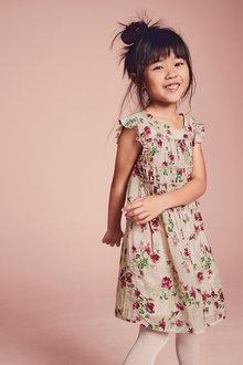 Next Pink Floral Ruffle Dress (3-16yrs)