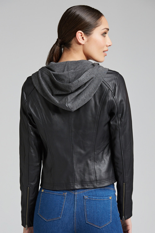 Emerge Contrast Sweat Leather Jacket