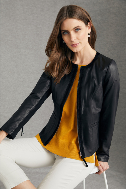 Grace Hill Leather Zip Front Jacket