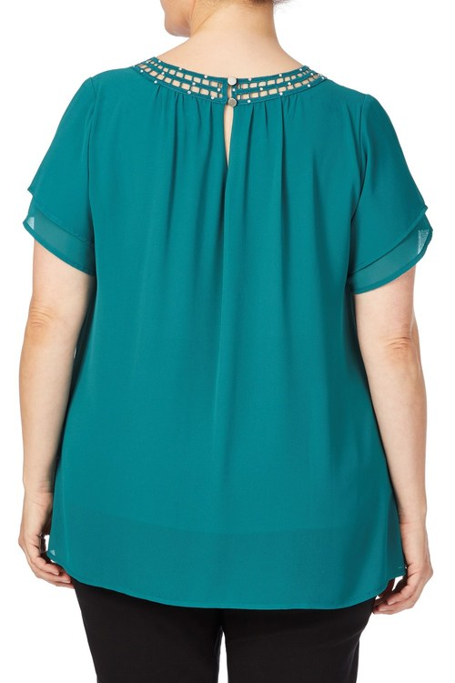 Plus Size - Beme Layered Sleeve Sequin Trim Top