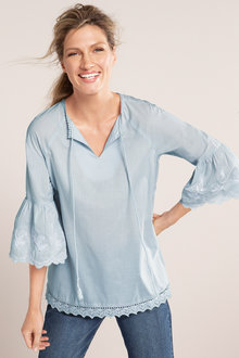 Capture Emb Sleeve Boho Top