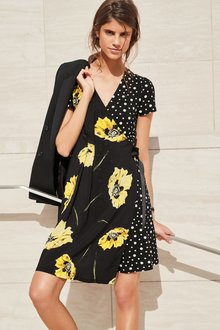 Next Floral Spot Wrap Dress - Tall