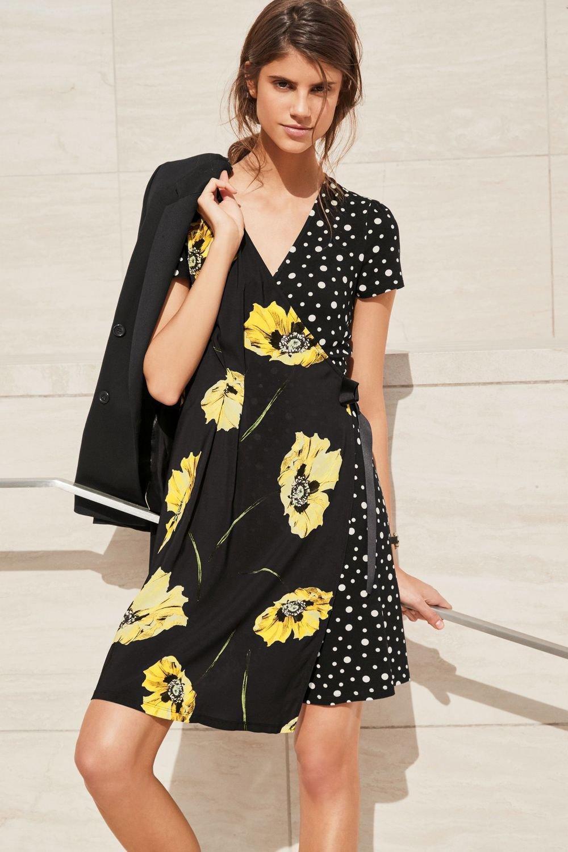 bfeb504d96c9 Next Floral Spot Wrap Dress - Tall Online | Shop EziBuy