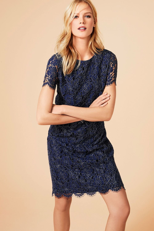 Next Metallic Lace Shift Dress Tall Online | Shop EziBuy