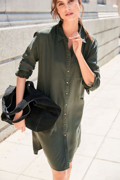 Next Tencel Shirt Dress - Tall
