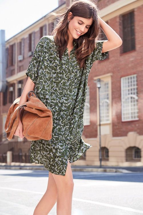 Next Bird Print Shirt Dress