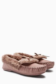 Next Premium Suede Moccasin Slippers