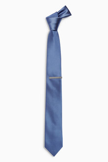 Next Fine Textured Tie With Tie Clip