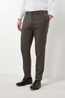 Next Flannel Slim Fit Plain Front Trousers